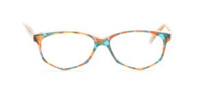 Acetat Damenbrille in Schmetterlingsform aus den 1990er Jahren in bunten Farben marmoriert