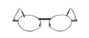 Oval metal frame in fresh green with colorful patterned acetate straps and accent on the bridge