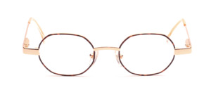 Golden metal frame with brown patterned glass rim and with flexible hinge