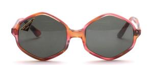 Große, 6-eckige 1970er Jahre Acetat Sonnenbrille