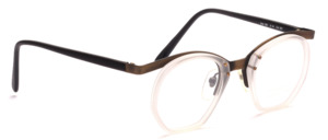 Combination frame for men with a matte transparent middle part and black temples by Valentino Toscani