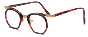 Men's combination frame with a red and black patterned midsection and straps by Valentino Toscani