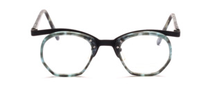 Men's combination frame with a green patterned center piece and straps by Valentino Toscani