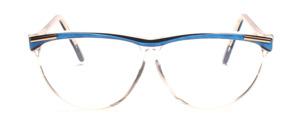 Schmetterlingsbrille in Transparent mit einem Blau glitzerndem Oberrahmen und Bügeln