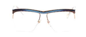 Balkenbrille aus den 80er Jahren aus Frankreich in Gold mit Blau, Gold, Schwarz gemustertem Acetateinsatz oben