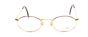 Oval metal frame in gold with high nose bridge