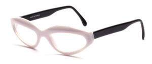 Moderne Cat Woman Brille aus Weiß-Transparent gestreiftem Acetat mit schwarzen Bügeln