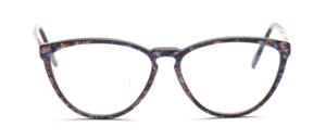 Feine Schmetterlingsbrille aus den 90er Jahren für Damen in Blau-Braun marmoriert in einer gut tragbaren Größe