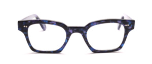 Kräftige Acetatfassung in Blau-Lila gemustert mit 2 Ziernieten vorne und an den Bügeln