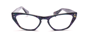 Blue and purple patterned glasses in Hollywood style, each with 2 decorative rivets on the front and on the temples
