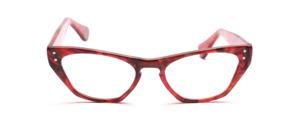 Rot gemusterte Brille im Hollywoodstil mit je 2 Ziernieten vorne und an den Bügeln