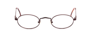 Classic oval metal frame in dark claret with flex hinge
