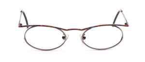 Pretty oval metal eyeglass frame for ladies in antique silver with a cheery patterned top bar