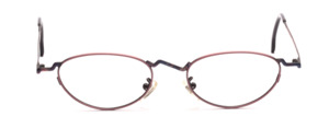 Funny metal frame for ladies in rose with subtly patterned nose bridge and temples