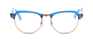 80s goggle in gold metal with bright blue top bar and straps