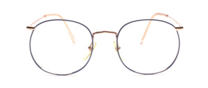 Large metal goggles from the 80s in gold with a blue frame edge with chiselled nose bridge and top temples