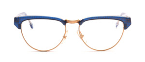 Combination goggles in cateye shape from the 80s in gold with blue-gold patterned acetate edge and ironing