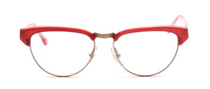 Combination goggles in cateye shape from the 80s in gold with red-gold patterned acetate edge and ironing
