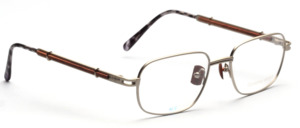 Metal frame in titanium colors with wooden pads and with wooden insert in the temples