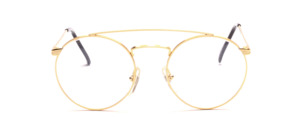 Panto Frame with double bridge in gold with engraved temples