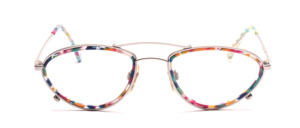 Metal frame in matt silver with colored acetate inner ring and with double bridge