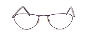 Purple speckled lacquered metal frame with black acetate temples with temples on top