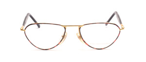 Golden metal frame with brown-black glass rim and black acetate temples with temples at the top