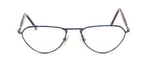 Blue mottled lacquered metal frame with black acetate temples with top-hung temples