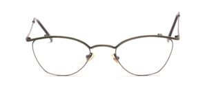 Green stainless steel frame in cateye shape with temples on top