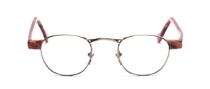 High-quality, slightly smaller combi metal frame in antique silver with pink-brown patterned acetate hinges and arms