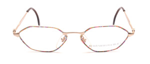 6-edged metal frame in matt gold for women with colorful patterned glass rim