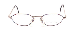 6-edged metal frame in matt silver for women with colorful patterned glass rim