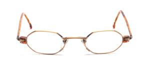 Kleine 8-eckige Brillenfassung in Antikgold mit braunen Acetatbacken und überzogenen Bügeln