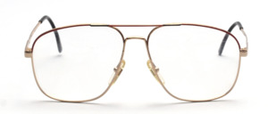 80s men's frame in gold with accents in red and black