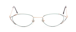 Fine women's glasses in matt gold and green patterned