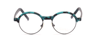Roundish combination frame with a black metal frame and a green-black patterned top and straps by Valentino Toscani