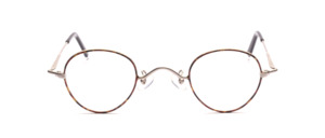 An elegant panto frame in matt silver with brown lacquer decoration