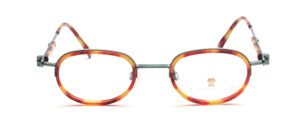 Neostyle comby frame in metallic green with brown patterned acetate inner edge