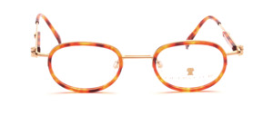 Comby frame in metallic gold with brown patterned acetate inner edge