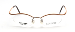 Pretty titanium glasses with nylon thread in cateye form in gold by Carisma