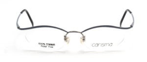 Pretty titanium glasses with nylon thread in cateye form in gray blue by Carisma