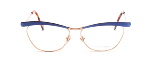 High quality gold eyeglasses frame with blue combined in the butterfly style of T-Look