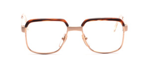 Strong men's frame in gold with dull gold offset details with brown top bar by Desil