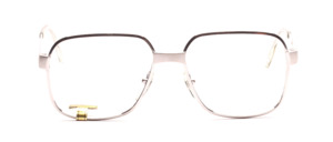 Strong metal eyeglasses frame for men from Desil in silver with dull silver offset details