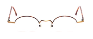 Half rimless Nylor metal frame in antique gold with brown, flexible hinges and acetate-plated temples