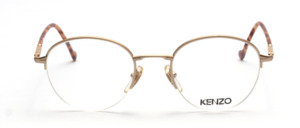 High-quality half-rim Panto glasses in matt gold with flexible hinge