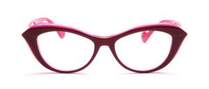 Pink-Lilafarbene Cateye Fassung aus geschichtetem Acetatmaterial in einer gut tragbaren Größe
