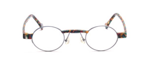 Metallic blue oval metal frame with colorful patterned acetate trim on the front and straps in the same acetate material