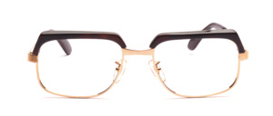 High-quality, classic vintage glasses by Selecta from the 1970s in gold with a dark brown top rim