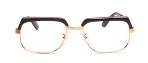Hochwertige, klassische Vintage Brille von Selecta aus den 1970er Jahren in Gold mit Dunkelbraunem Oberrand